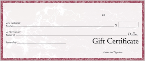 Personalized Gift Certificate in Pink Marble