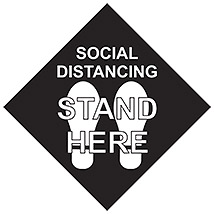 "Social Distancing Stand Here Square 11"" Decal - Black"