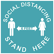 "Social Distancing Stand Here Square 11"" Decal - Sea Green"
