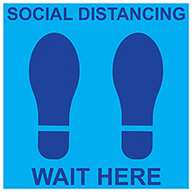 "Social Distancing Wait Here Square 11"" Decal - Blue"