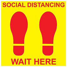 "Social Distancing Wait Here Square 11"" Decal - Yellow"