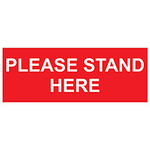 "Please Stand Here 16"" x 6"" Decal"
